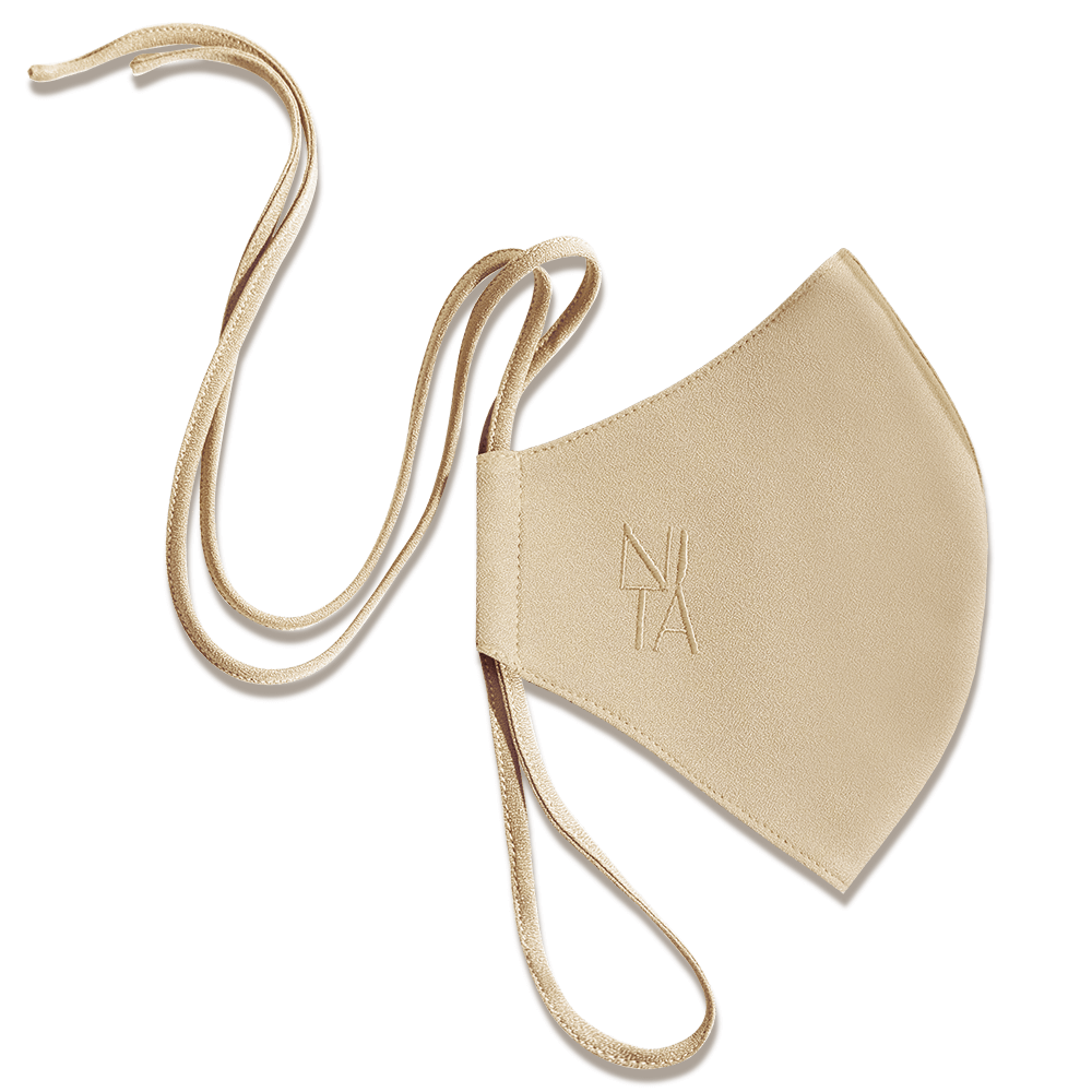 Foundation Face Mask with String Extension in Oatmeal
