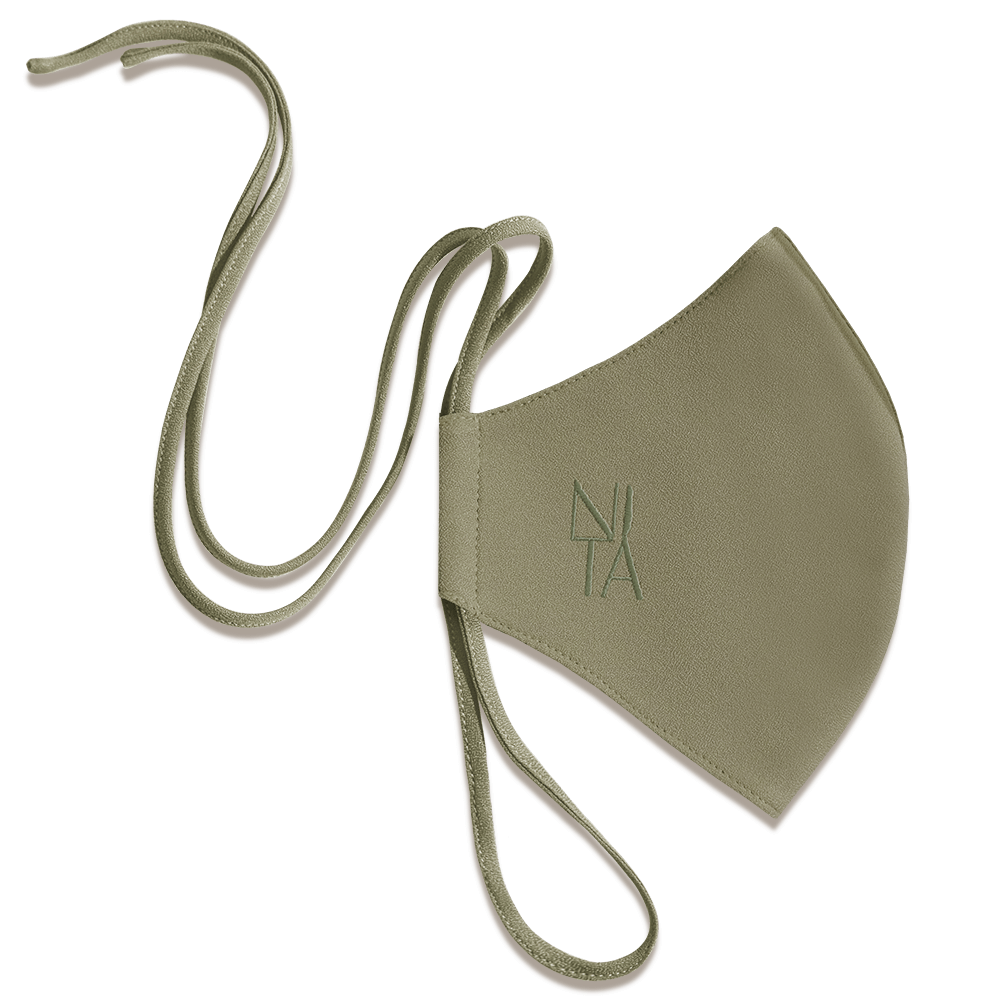 Foundation Face Mask with String Extension in Olive